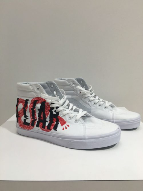 Art Shoes Red High Tops | Ginozko | Luz Art Los Angeles, CA